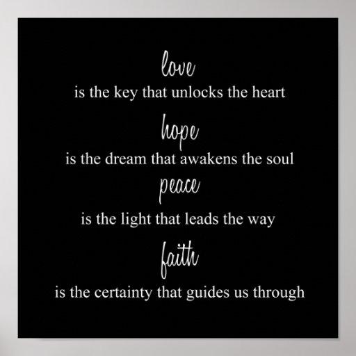 Amor, esperanza, paz, fe posters