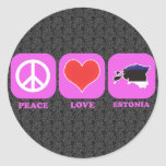 Amor Estonia de la paz Pegatina Redonda