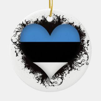 Amor Estonia del vintage I Adorno Navideño Redondo De Cerámica