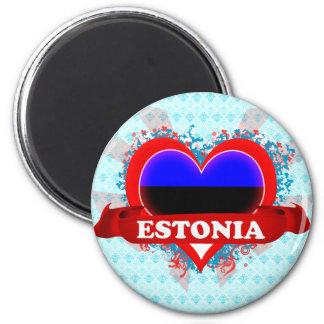 Amor Estonia del vintage I Imán Redondo 5 Cm