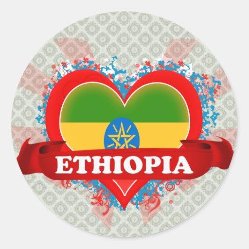 Amor Etiopía del vintage I Pegatina Redonda
