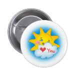 Amor feliz del sol usted - botón pins