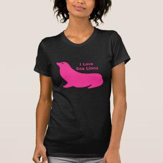 Amor femenino lindo del león marino de las rosas tee shirts