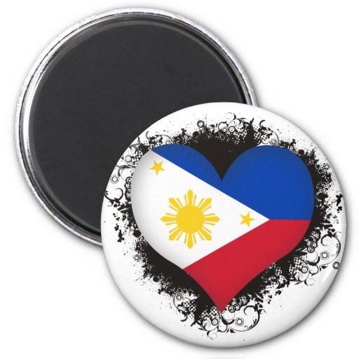 Amor Filipinas del vintage I Imán Redondo 5 Cm