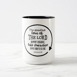 Amor firme de dios, 3:22 de las lamentaciones taza de dos tonos