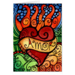 Amor Flaming Heart Day of the Dead Card Design
