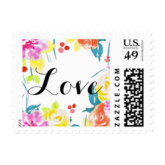 Amor floral abstracto de la acuarela sello postal