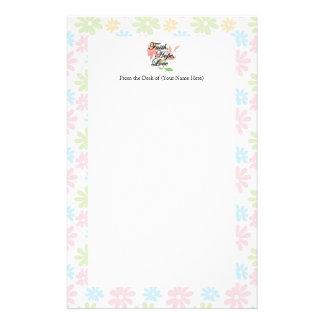 Amor floral de la esperanza de la fe del rosa/del  papeleria de diseño