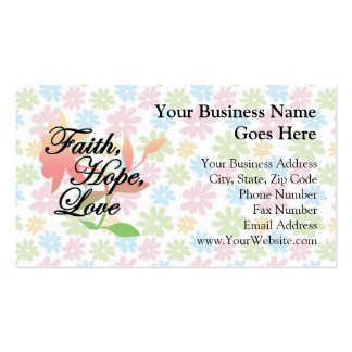 Amor floral de la esperanza de la fe del rosa/del plantilla de tarjeta de visita
