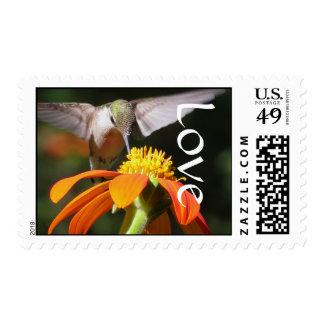 Amor floral de la flor del girasol del pájaro del sello postal