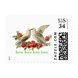 Amor floral de los rosas rojos de los Lovebirds Sello