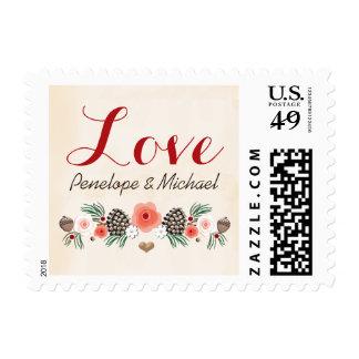 Amor floral del boda del cono del pino del navidad sello postal