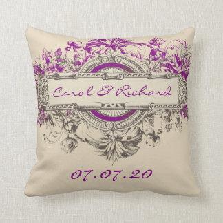 Amor floral del boda del vintage gris púrpura del