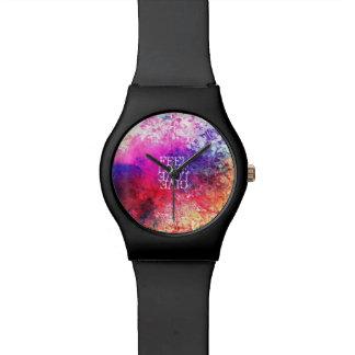 Amor floral del Grunge vivo del vintage que dice Relojes De Pulsera