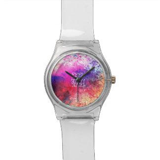 Amor floral del Grunge vivo del vintage que dice Reloj De Mano