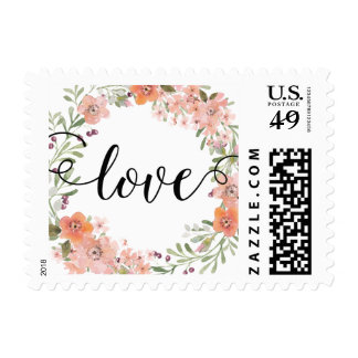 Amor floral del melocotón romántico sellos