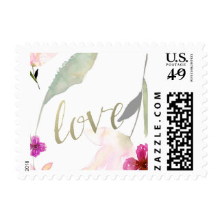 Amor floral del oro de la acuarela tan hermosa timbre postal
