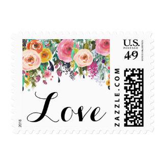 Amor floral romántico de la acuarela del jardín sello postal
