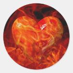 Amor forjado en llama pegatina redonda
