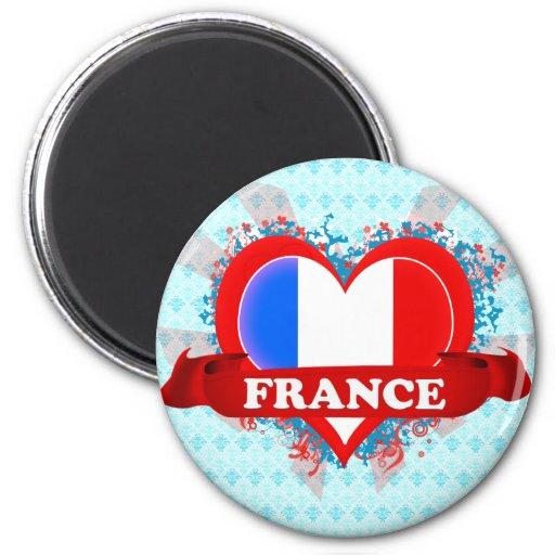 Amor Francia del vintage I Imán Redondo 5 Cm