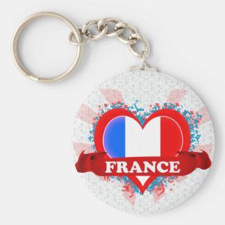 Amor Francia del vintage I Llavero Redondo Tipo Pin