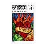 Amor/franqueo llameante del personalizado del cora timbres postales