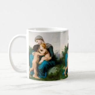 Amor fraternal, madre con los niños por Bouguereau Taza Clásica
