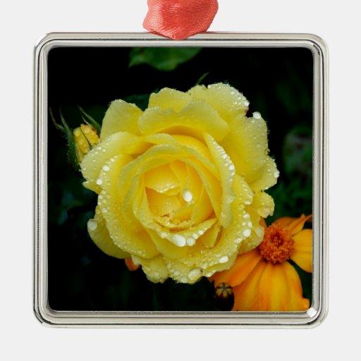 Amor fresco de la paz del rosa amarillo ornamento para arbol de navidad