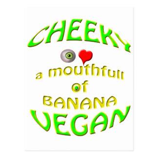 amor fresco del vegano i un mouthfull del plátano postales