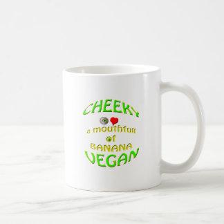 amor fresco del vegano i un mouthfull del plátano taza de café