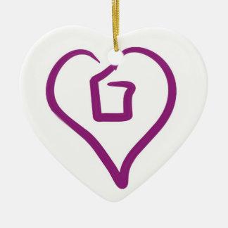 Amor fuera del ornamento de la caja adorno navideño de cerámica en forma de corazón