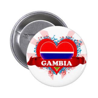 Amor Gambia del vintage I Pin Redondo De 2 Pulgadas