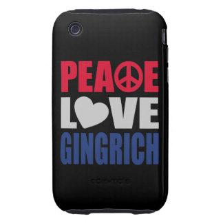 Amor Gingrich de la paz iPhone 3 Tough Carcasas
