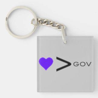 Amor > gobierno: Llavero del gráfico de Skullnskin