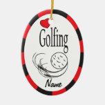 Amor Golfing óvalo rojo y negro Adorno