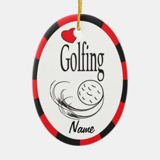 Amor Golfing óvalo rojo y negro Adorno Navideño Ovalado De Cerámica
