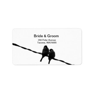 Amor/gorriones en etiqueta del boda del alambre etiqueta de dirección