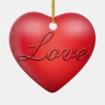 Amor grabado en relieve adorno de navidad