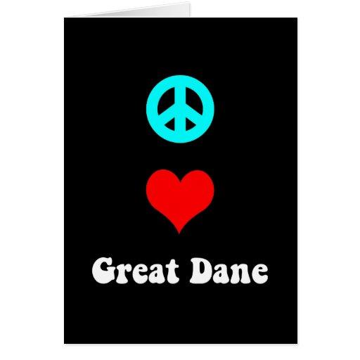 Amor great dane de la paz tarjeta de felicitación