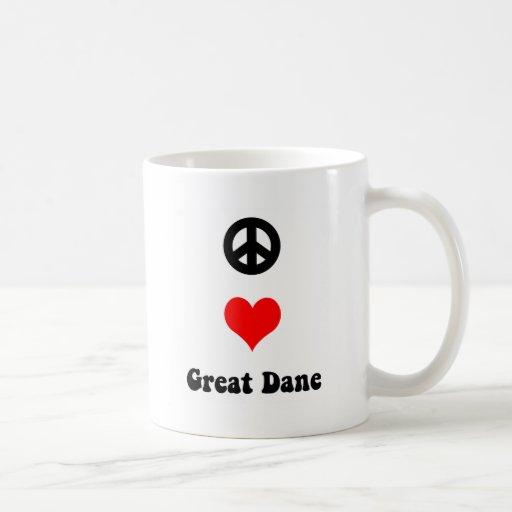 Amor great dane de la paz taza básica blanca