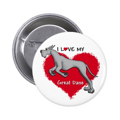 Amor great dane negro pin redondo de 2 pulgadas