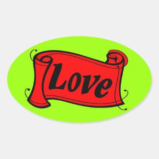 Amor grupo negro rojo de escritura pegatina ovalada