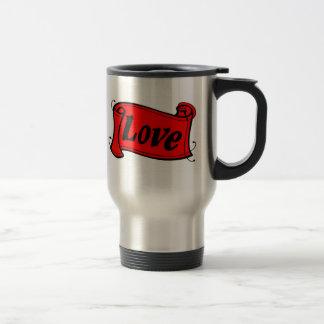 Amor grupo negro rojo de escritura taza térmica