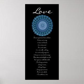 Amor - guirnalda de la margarita azul - primeros C Póster