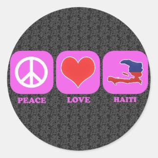Amor Haití de la paz Pegatina Redonda