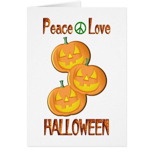 Amor Halloween de la paz Tarjetas