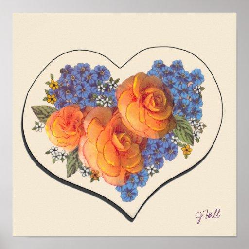 Amor Heart-1 de Decoupage Poster