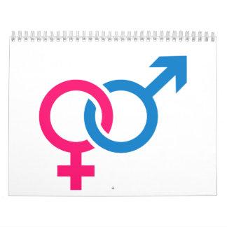 Amor hembra-varón calendario de pared