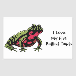 Amor hinchado fuego del sapo (personalizable) rectangular pegatinas