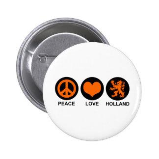 Amor Holanda de la paz Pin Redondo De 2 Pulgadas